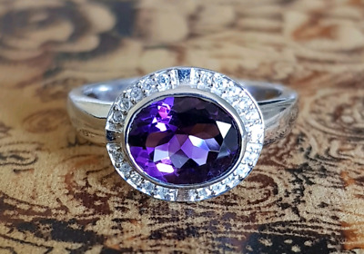 Amethyst & White Zircon Ring, size 9 1/4 US, protection stone