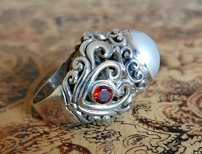 Mabe Pearl and Garnet Ring, size 9 US, Filigree Hearts, Red White