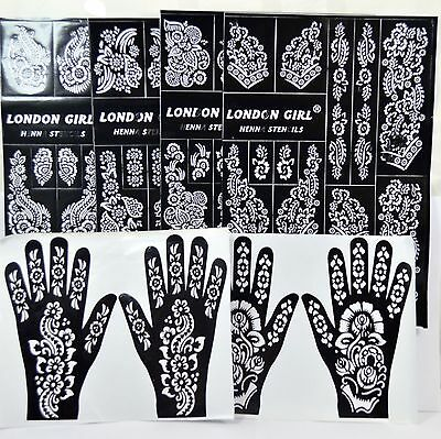 Henna/Mehndi Stencils Arabic/Indian Style Body Art, Pack of 6 pages
