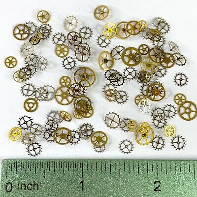 100 Wheels Steampunk Watch Parts Gears Altered Art Vtg Lot Gold Silver Movements