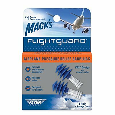 1 Pair Mack's Flightguard Airplane Pressure Relief Ear Discomfort Noise Plugs