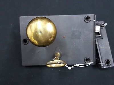 Vintage Style Metal Rim Lock Set with Brass Knob and Key