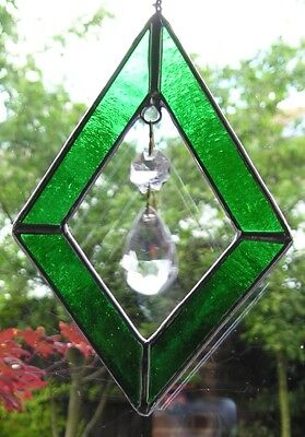 Stained Glass Green Diamond Shaped Suncatcher With Crystals, Handmade in England