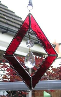 Stained Glass Red Diamond Shaped Suncatcher With Crystals, Hand Made in England