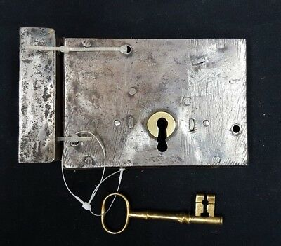 Vintage Metal Rim Lock Set with Key