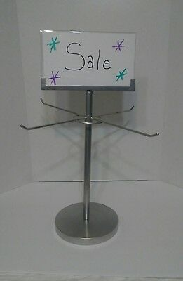 "Retail Store Display Hanging Counter Top Spinner Rack - 1-Tier/4 Peg Wire 17""H"
