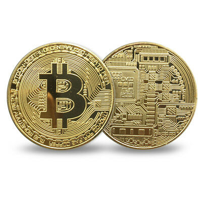 Gold Bitcoin Commemorative Round Collectors Bit Coin Plated Coins Collectible