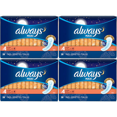4 Pack Always Maxi Overnight Protection Pads Without Wings Size 4, 28 Count Each
