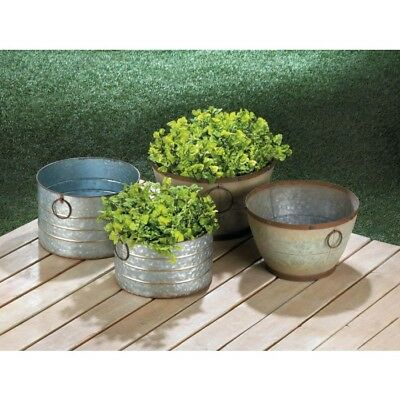 Farm Style Round Galvanized Planters Rustic Sizes Outdoor Home Decor Garden New