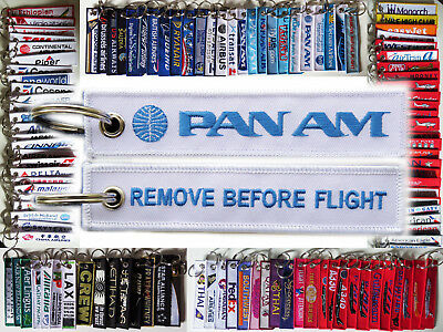 Keyring PAN AM Airlines WHITE Remove Before Flight baggage tag label keychain