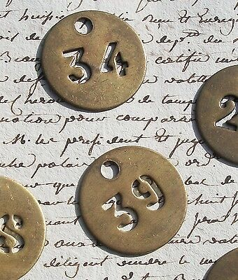 Vintage French brass fob number tag Various numbers available hotel door key