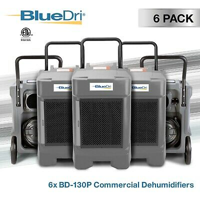 6 Pack BlueDri® BD-130P 225 PPD High Performance Commercial Dehumidifier, Grey