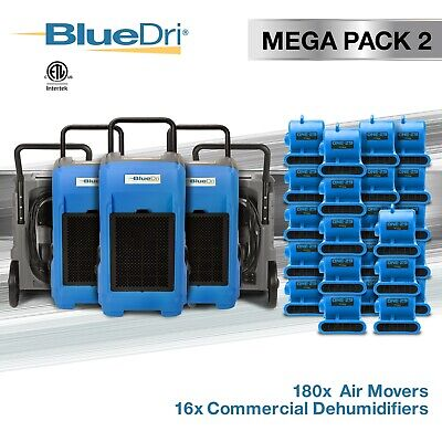 BlueDri® Mega Pack 2 | 16 BD76 Commercial Dehumidifier 180 One-29 Air Mover Blue