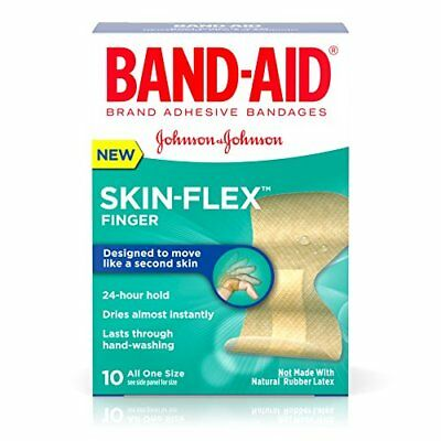 Band-Aid Skin-Flex Adhesive Finger Bandages, One Size, 24 Hour Hold, 10 Count