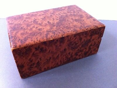 Vintage Burr Walnut Cigarette Box Art Deco Antique W10 L15.5 H6.5cm