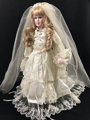 "17"" Porcelain Bride Doll in a Gorgeous Wedding Gown with Train"