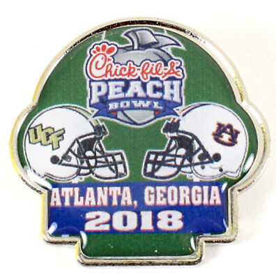 Official 2018 Chick-Fil-A Peach Bowl Pin Auburn Tigers vs UCF Knights