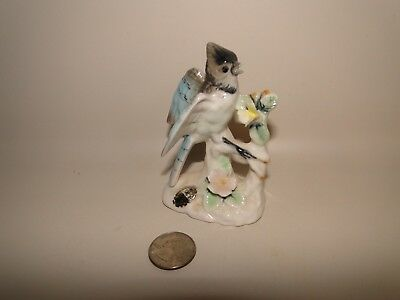 "Vintage Lenwile Ardalt Verithin Blue Jay Figurine Bone china, 3 3/4"" Tall, Japan"