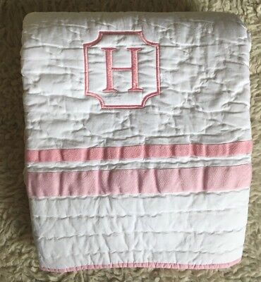 "Pottery Barn Harper Baby Quilt Toddler Crib Pink ""H"" Mono bedding"
