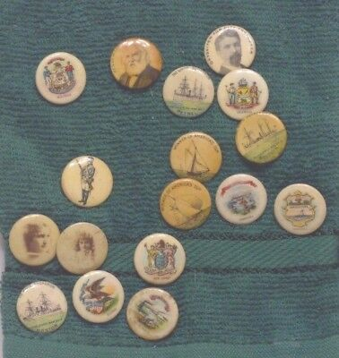 17 Antique Small Pinbacks Ad Buttons With 3 Faces, 7 States, 3 White Squadron,
