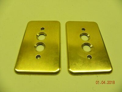 ONE Vintage Brass Pushbutton Single Pole Switch Plate (Curved Edges w/Screws)