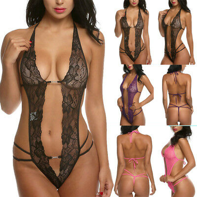Womens Sexy Lingerie One Piece Halter Teddy Mesh Sheer Bodysuit Body Suits