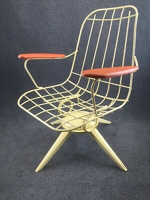 Mid Century Modern Homecrest Wrought Iron Wire Rocking Swivel Patio Chair