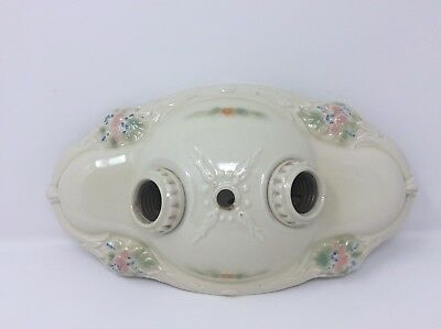 Antique Vintage Porcelain Double Socket Floral Light Fixture