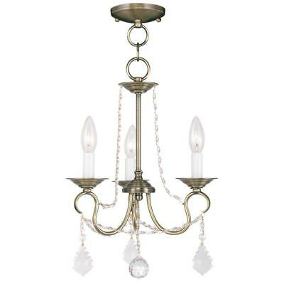 Adjustable Metal 3-Light Crystal Chandelier with Chain Antique Brass Finish