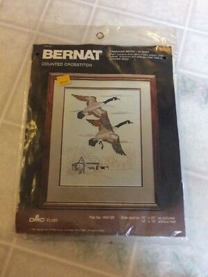 Canadian Geese Bernat Counted Cross Stitch Kit Sealed 1984 Geese 16x20