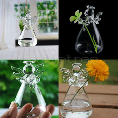 Hanging Glass Vase Flower Container Garden Terrarium Planter Clear Plant Decor