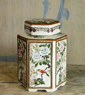 Vtg/Andrea Sadek/Porcelain Ginger Jar/Hexagon/Japan/Birds/Floral/Asian/BoHo Chic