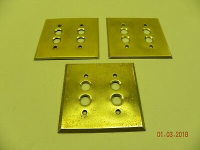 ONE Vintage Brass Pushbutton Two Gang Switch Plate Cover (Polished w/ Screws)