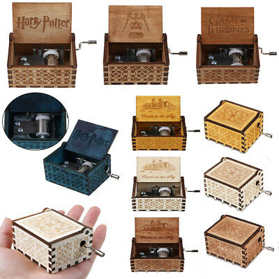 Retro Hand Crank Held Hurdy-Gurdy Wooden Hand Made DIY Music Box Melody 5 Songs