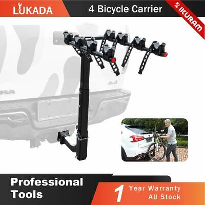 "4 Bike Carrier Bicycle Car Rear Rack 2"" Tow Bar Hitch Mount Foldable Steel AU"