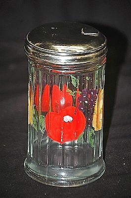 Old Vintage Sugar Powder Shaker Muffineer Tool Ribbed w SS Lid Fruit Designs