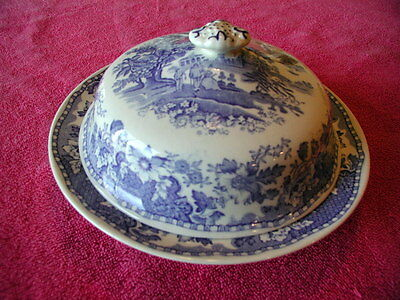 "Wood & Sons Enoch (Seaforth - Blue)  7 3/8"" x 4"" LIDDED BUTTER / CHEESE DISH"