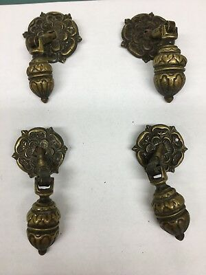 Antique Solid Brass Tea Drop Drawer Pulls 4