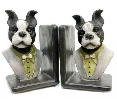 Boston Terrier Bookends English Gentleman Dog Book Ends Non Skid Gifts NEW (2)