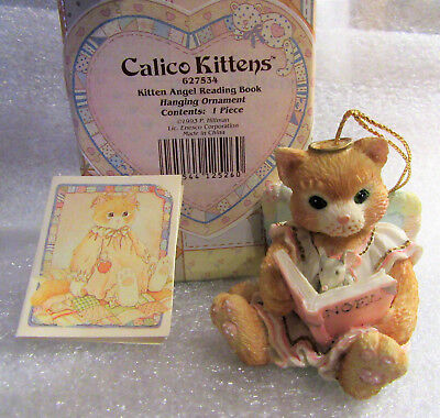 Calico Kittens ~ Kitten Angel Reading a Book ~ Cat Kitty Hanging Ornament