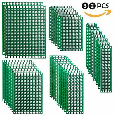 Elegoo 32 Pcs Double Sided PCB Board Prototype Kit for DIY Soldering with 5