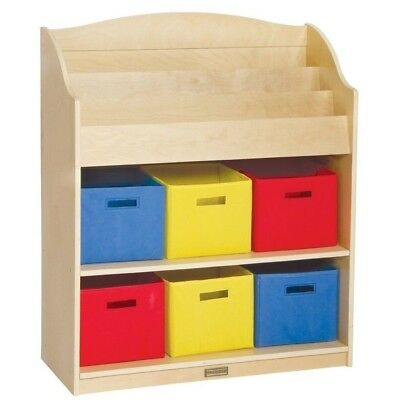 Guidecraft G6455 Kids Book Shelf Display Bookcase And Bin Toy Cubby Storage New