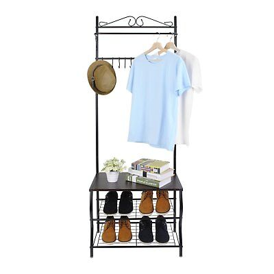 Metal Hall Tree Entryway Multi-purpose Clothes Coat Stand Shoes Rack Hat Stand