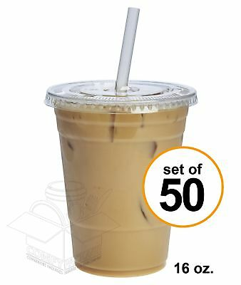 50 Sets 16 oz. Plastic CRYSTAL CLEAR Cups with Lids for Cold Drinks, Iced