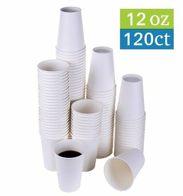 TashiBox 12 oz White Hot Drink Paper Cups - 120 Count - Disposable Paper Coffee