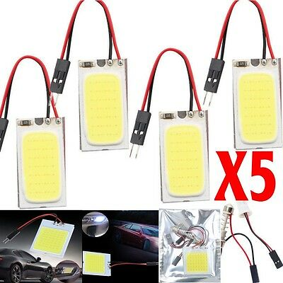 5x New White 48 SMD COB LED T10 4W 12V Car Interior Panel Light Dome Lamp Bulb