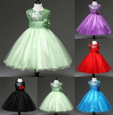 AU Flower Kids Girls Sequin Lace Wedding Bridesmaid Pageant Party Formal Dresses