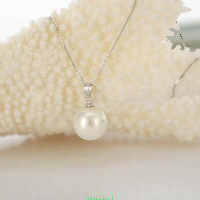 8x18mm White Akoya Cultured Pearl Pendant Necklace