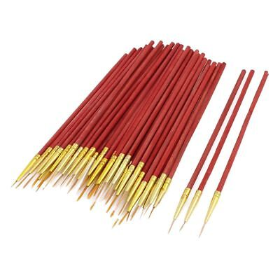 50 pieces Watercolor drawing paint brushes with small red wooden handle Q9B1
