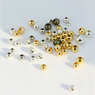 2-8mm Gold&silver plated Bronze Metal Round Spacer loose beads jewelry making